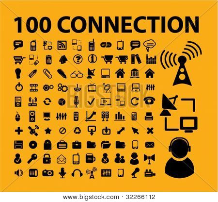 100 connection icons set, vector