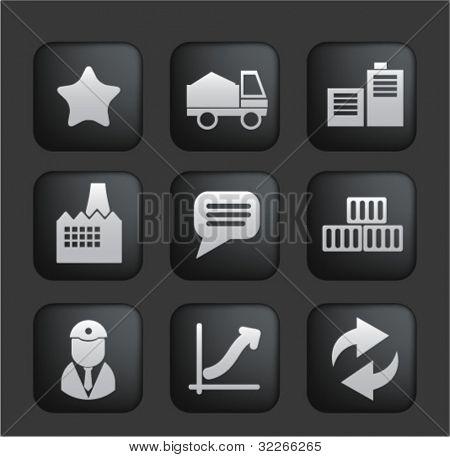 negocios & conjunto de botones de industria negro, vector