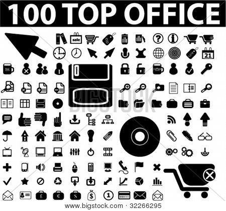 100 Web Office Icons Set, Vektor