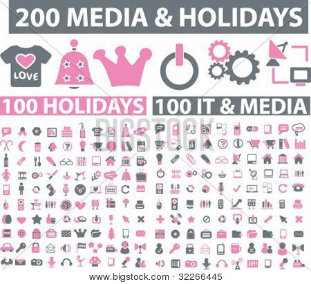 200 media & holidays icons set, vector