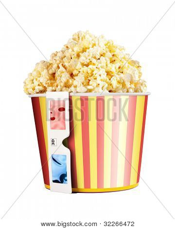 Bucket full of popcorn and 3D glasses isolated on white