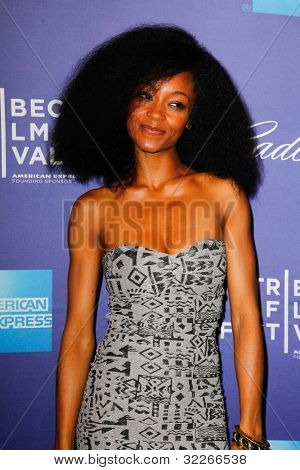 NEW  YORK - APRIL 21: Actress Yaya DaCosta attends the premiere of
