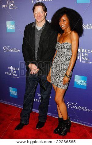 NEW  YORK - APRIL 21: Brendan Fraser and Yaya DaCosta attend the
