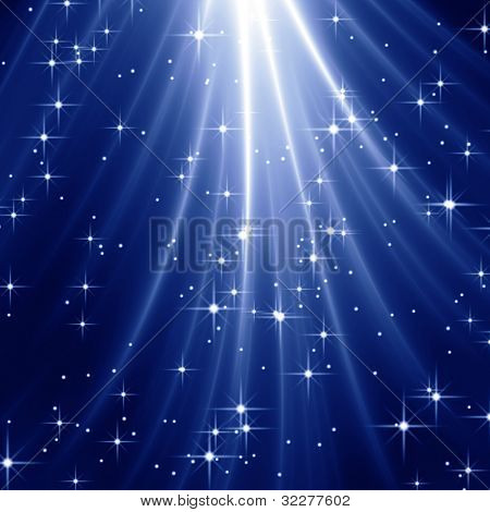 Starry sky with light rays
