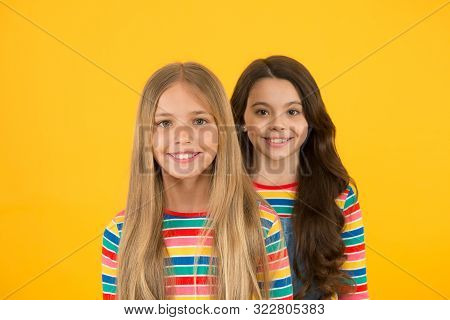 poster of For Any Hair Type. Blonde And Brunette. Healthy And Shiny Hair. Kids Cute Children With Long Hairsty