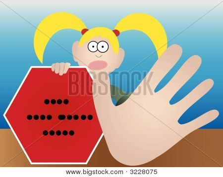 Female Holding Stop Sign With Left Hand And With Right Hand Gesturing Stop - Vector