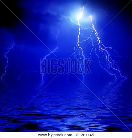 Blue lightning background with water reflection