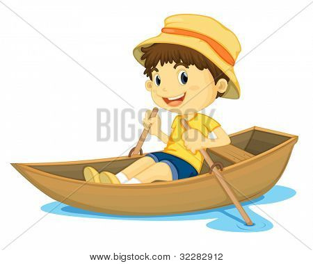 illustration of a young boy rowing a boat - EPS VECTOR format also available in my portfolio.