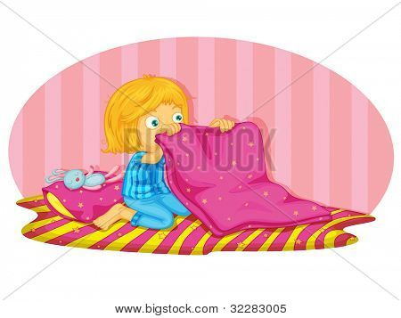 Illustration of a child waking up - EPS VECTOR format also available in my portfolio.