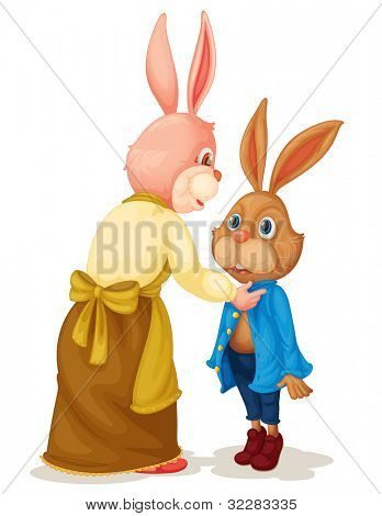 Illustration of Mother and son rabbit - EPS VECTOR format also available in my portfolio.