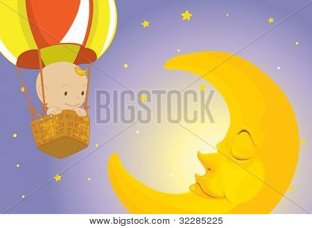 Illustration of baby on the moon - EPS VECTOR format also available in my portfolio.