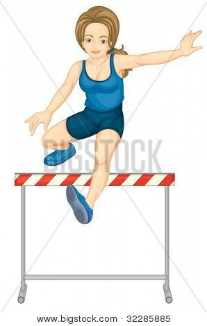 Illustration of female hurdler on white - EPS VECTOR format also available in my portfolio.