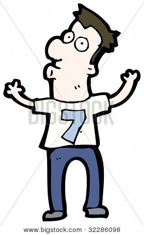 cartoon man wearing shirt number seven