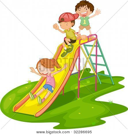 Illustration of kids playing at a park - EPS VECTOR format also available in my portfolio.