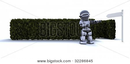 3D render of a Robot at the start of a maze