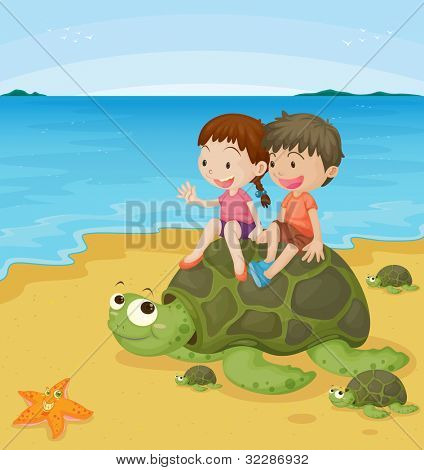 illustration of a kids on sea turtles - EPS VECTOR format also available in my portfolio.