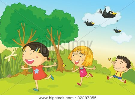 illustration of 3 kids playing - EPS VECTOR format also available in my portfolio.