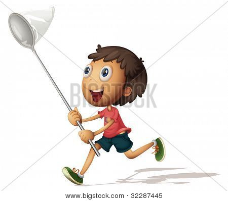 Illustration of a boy with a net - EPS VECTOR format also available in my portfolio.