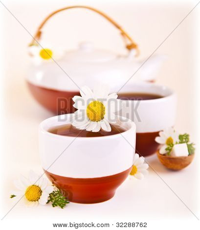 Herbal chamomile cup of tea with daisy flower, shallow depth of field, healthy drink, relaxing anti stress spa beverage, teatime