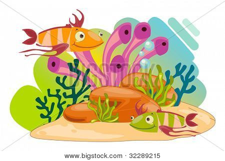 ilustração de um animais marinhos em um fundo branco - formato VETORIAL EPS também disponível no meu portfol