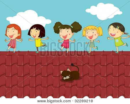 Illustration of kids on a rooftop - EPS VECTOR format also available in my portfolio.