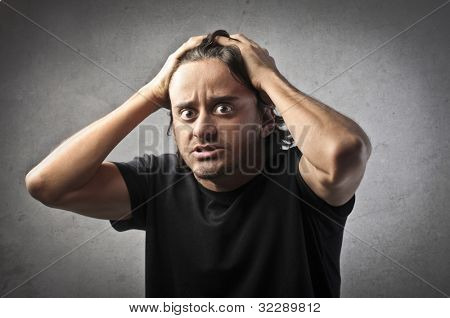 Man with worried expression