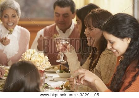 Hispanic family eating at the dinner table