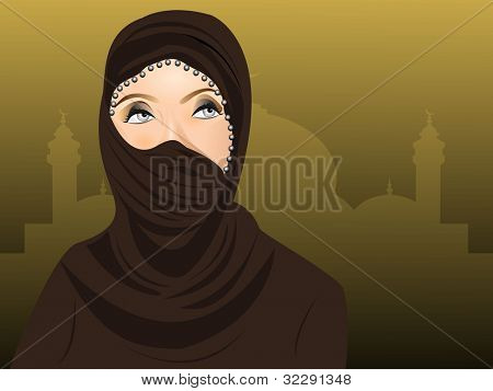 Arabian Muslim women in hijab over seamless mosque background. EPS 10. Vector illustration.