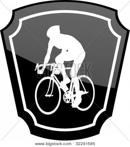 bicyclist on emblem