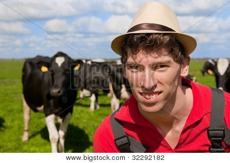 Agricultor é olhando para seus gado vacas nos prados
