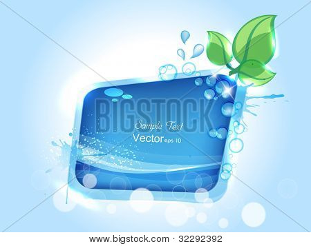 Abstract background water splash, green leaves with space for your text. can be use as flyer, banner or poster. Vector illustration in EPS 10.Save water and trees concept.
