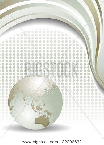 Professional Corporate or Business template for financial presentations showing globe in silver matalic color and wave background with copy space. EPS 10. Vector illustration.