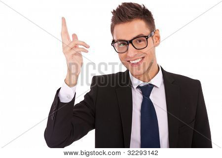Business man greets you or saying goodbye on white background