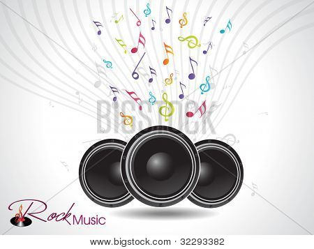 Musical notes coming out from speaker on rays background, can be use as flyer, banner or poster for party and other events. EPS 10, vector illustration.