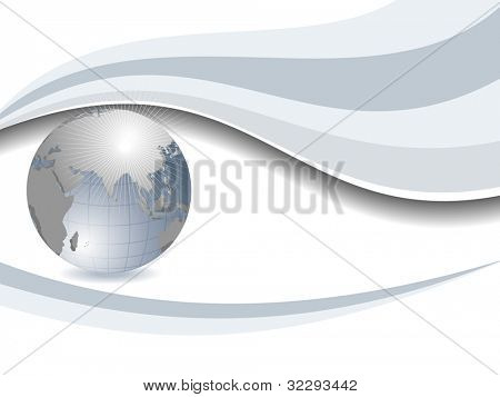 Professional Corporate or Business template for financial presentations showing globe in grey and silver matalic color. EPS 10. Vector illustration.
