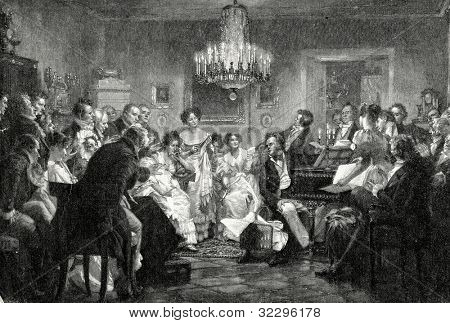 Schubert at the ball. Engraving by Gedan from picture by  Shlid. Published in magazine