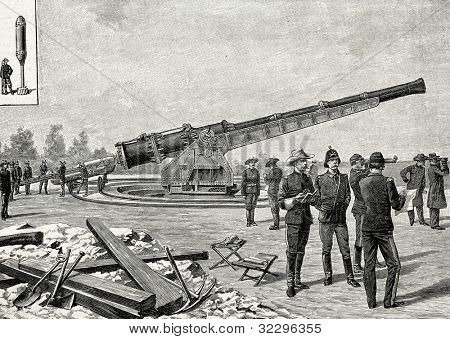 The new giant cannon, the harbor of New York, USA. Engraving by Shliper. Published in magazine