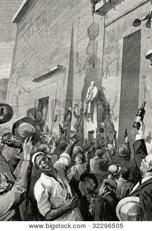 Grand opening of a dam on the Nile River. Engraving by  Helmitsky. Published in magazine