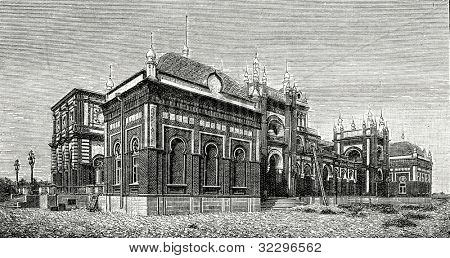 The palace of the Emir. Russian political agency. New Bukhara. Engraving by  Shliper. Published in magazine