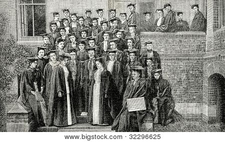 Vassar College - a prestigious women's college in Poughkeepsie, NY. Engraving by  Shliper. Published in magazine