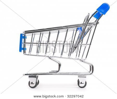 side view of a shopping cart isolated on white