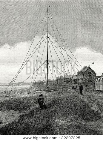 Wireless telegraph. Telegraph station. Engraving by  Rashesvky. Published in magazine