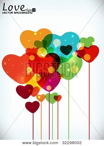 Colorful balloon in heart shapes with transparency effect, can be use as gift card, greetin or banner. EPS 10. Vector illustration.