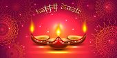 Vector Banner India Diwali, Deepavali Festival Of Lights, Red Background Dipavali With Gold Ornament poster