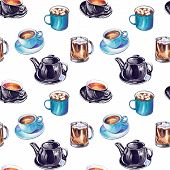 Seamless Pattern With Hand Drawn Sketchy Tea And Coffee Cups, Cappuccino And Hot Chocolate. Coffee B poster