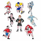 Set Or Collection Of Cartoon Character Mascot Style Illustration Of Rugby Union Or Rugby League Play poster