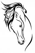 picture of mustang  - horse head with flying mane vector illustration - JPG