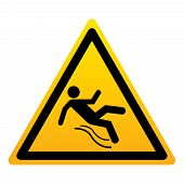 Wet Floor Icon. Silhouette Of A Falling Man. Wet Floor Yellow Triangular Sign Isolated On White Back poster
