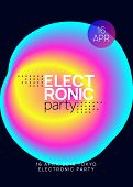 Music Fest. Modern House Event Brochure Template. Fluid Holographic Gradient Shape And Line. Electro poster