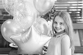 Happy Birthday, Gorgeous. Happy Little Girl Celebrating Birthday With Party Balloons. Adorable Small poster